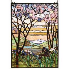 """22"""" W X 30"""" H Tiffany Magnolia & Iris Stained Glass Window"""