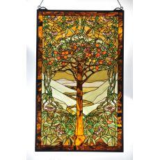 "24"" W X 38.75"" H Tiffany Tree Of Life Stained Glass Window"