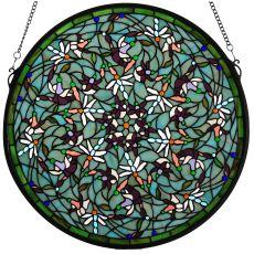 "22"" W X 22"" H Dragonfly Stained Glass Window"