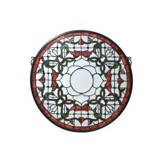 "20"" W X 20"" H Tulip Bevel Medallion Stained Glass Window"