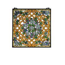 """22"""" W X 22"""" H Shamrock Garden Stained Glass Window"""