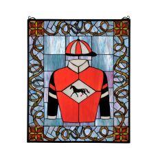 """25"""" W X 30"""" H Jockey Silks Stained Glass Window"""