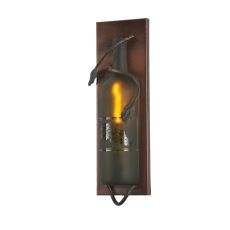 """4"""" W Tuscan Vineyard Etched Grapes Wine Bottle Pocket Wall Sconce"""