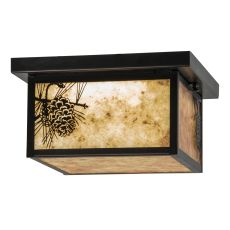 "12"" Sq Hyde Park Winter Pine Led Flushmount"