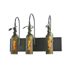 """24"""" W Tuscan Vineyard Etched Grapes 3 Arm Wine Bottle Wall Sconce"""