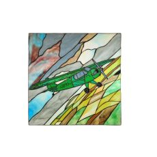 """15"""" W X 15"""" H Airplane Piper Cub Stained Glass Window"""