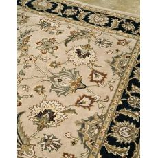 Classic Oriental Pattern Taupe/Black Wool Area Rug (9X12)