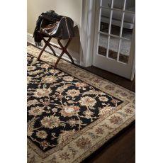 Classic Oriental Pattern Black/Taupe Wool Area Rug (9X12)