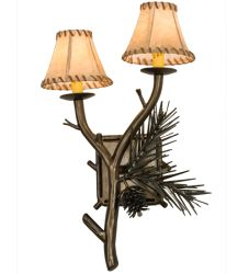 """14""""W Pine Wood 2Lt Right Wall Sconce"""