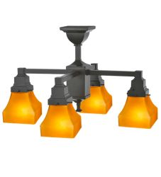 """22""""W Bungalow Frosted Amber 4 Lt Chandelier"""