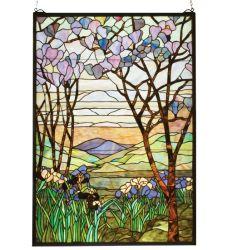 """29""""W X 40""""H Tiffany Magnolia & Iris Stained Glass Window"""