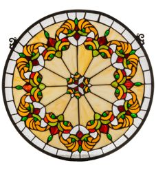 """19""""W X 18""""H Middleton Medallion Stained Glass Window"""