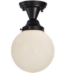 "8""W Revival Schoolhouse White Globe Semi-Flushmount"
