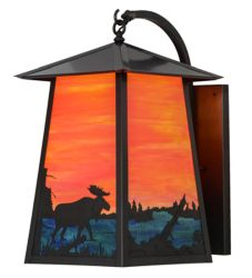 "14.5""W Stillwater Moose At Lake Curved Arm Wall Sconce"