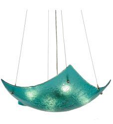 """26""""W Metro Fusion Aquamarine Crinkle Inverted Pendant"""