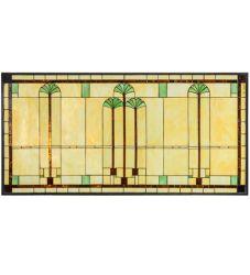 """60""""W X 30""""H Ginkgo Stained Glass Window"""
