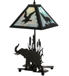 "22""H Wildlife On The Loose W/Lighted Base Table Lamp"