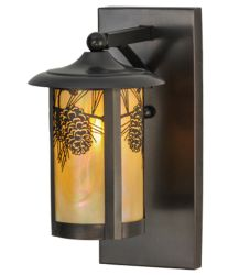 """8""""W Fulton Winter Pine Solid Mount Wall Sconce"""