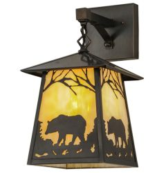 "8""W Stillwater Bear At Dawn Hanging Wall Sconce"