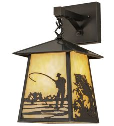 "8""W Stillwater Fly Fishing Creek Hanging Wall Sconce"