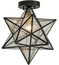 "12""W Moravian Star Clear Seedy Flushmount"