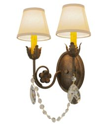 """12""""W Antonia 2 Lt W/Crystals And Fabric Shades Wall Sconce"""
