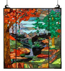 "47""W X 76""H Tiffany River Of Life Stained Glass Window"