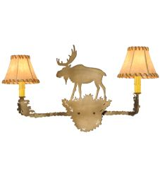 "27""W Moose 2 Lt Rawhide Shade Vanity Light"