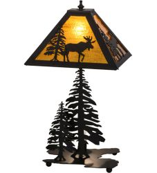 "21""H Lone Moose W/Lighted Base Table Lamp"