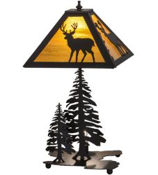 "21""H Placid Deer W/Lighted Base Table Lamp"