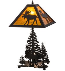 "21""H Moose Through The Trees W/Lighted Base Table Lamp"