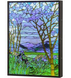 "30""W Tiffany Magnolia & Iris Led Backlit Window Box"