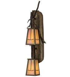 """7.5""""W Pine Branch Valley View 2 Lt Wall Sconce"""