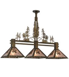 """45""""L Winter Pine Tall Pines 3 Lt Island Pendant"""