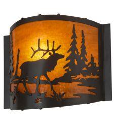 "12""W Elk At Lake Wall Sconce"