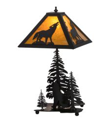 "21""H Howling Wolf W/Lighted Base Table Lamp"