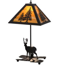 "21""H Lone Deer W/Lighted Base Table Lamp"