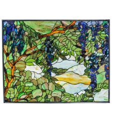 """32""""W X 24""""H Tiffany Wisteria & Snowball Stained Glass Window"""