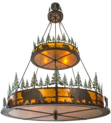 "72""W Bear In The Woods 2 Tier Inverted Pendant"