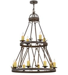 "36""W Lakeshore 12 Lt Two Tier Chandelier"