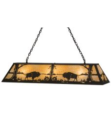 "60""L Buffalo At Lake Oblong Pendant"