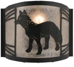 """12""""W Fox On The Loose Left Wall Sconce"""