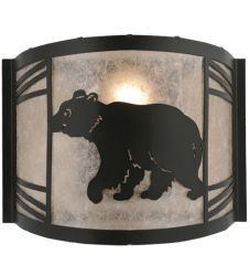 """12""""W Happy Bear On The Loose Left Wall Sconce"""