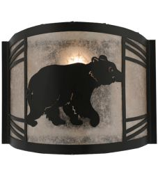 """12""""W Happy Bear On The Loose Right Wall Sconce"""