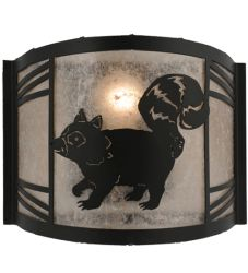 """12""""W Raccoon On The Loose Left Wall Sconce"""