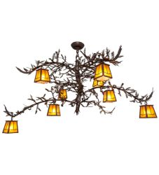"48""W Pine Branch Valley View 8 Lt Chandelier"