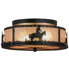 "16""W Cowboy & Steer Flushmount"