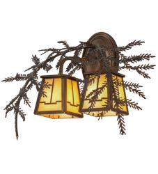 "17""W Pine Branch Valley View 2 LT Wall Sconce"