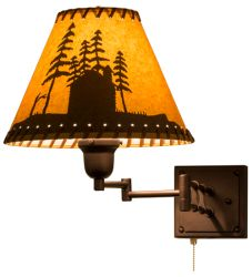 """12-17.5""""W Cabin In The Woods Swing Arm Wall Sconce"""
