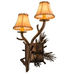 """12""""W Lone Pine 2 Lt Left Wall Sconce"""